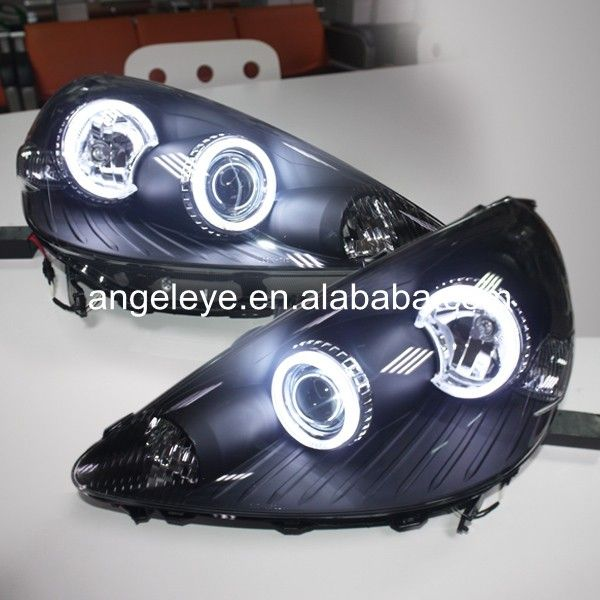 Для Honda для Fit Jazz LED Angel eyes Фара Фары переднего света 2002-2008 год ДЕПО