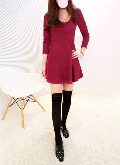 Candy Color Thicker Slim High Waist Pleated Dress