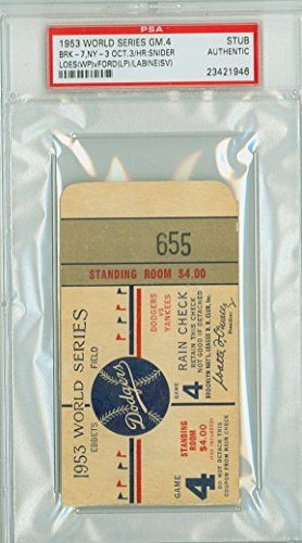1953 World Series Yankees at Dodgers - Game 4 Ticket Stub BRK 7-3 WP Billy Loes LP Whitey Ford HR Duke Snider [Grades clean VgEx, very lt toning and sl bend] by Mickeys Cards * See this great product.