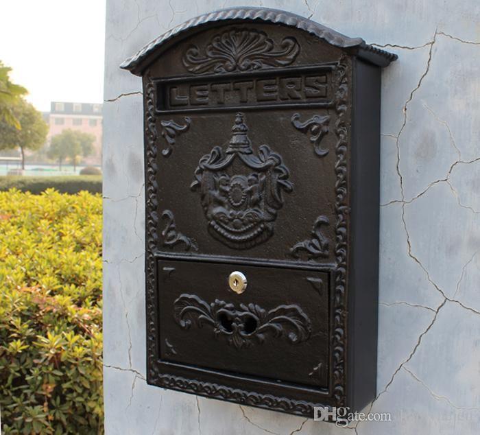 Großhandel Gusseisen Mailbox Postbox Geprägte Trim Dekor Metal Mail Postbriefkasten Für Garten, Terrasse, Rasen Garten Außenwanddekoration Freies Verschiffen Von Haolyhelen, $135.68 Auf De.Dhgate.Com | Dhgate