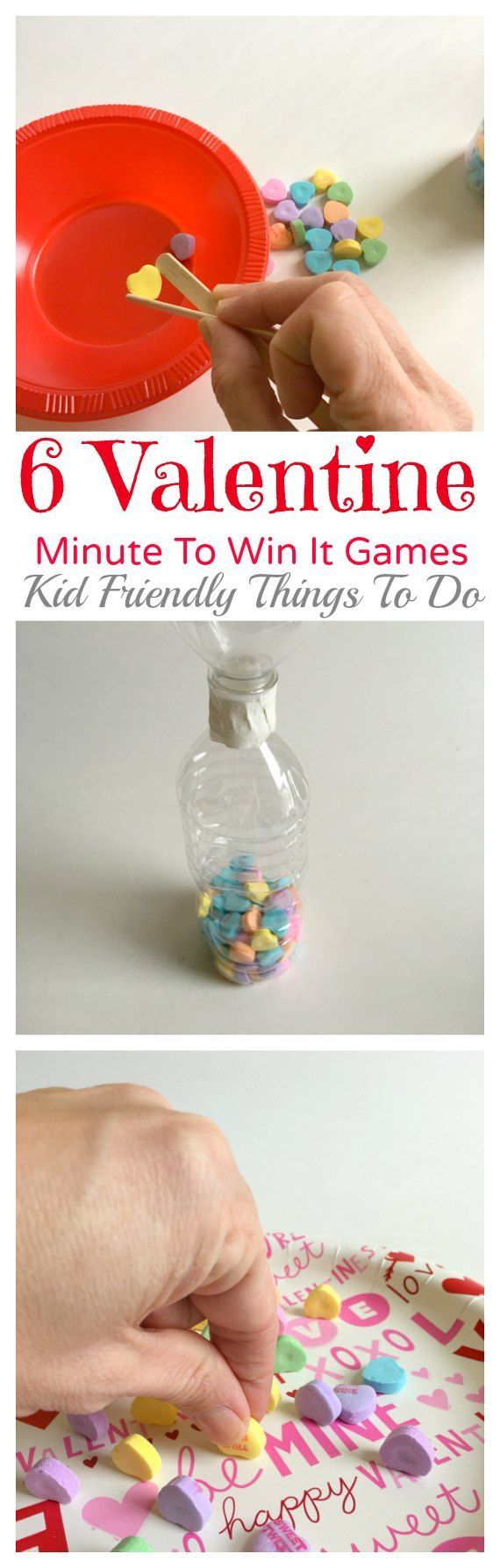 Our Minute To Win It Valentine's Day Party Games! - http://KidFriendlyThingsToDo.com