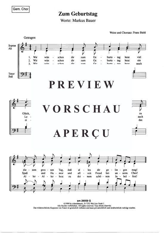 Zum Geburtstag (Gemischter Chor) Franz Biebl >>> KLICK auf die Noten um Reinzuhören <<<