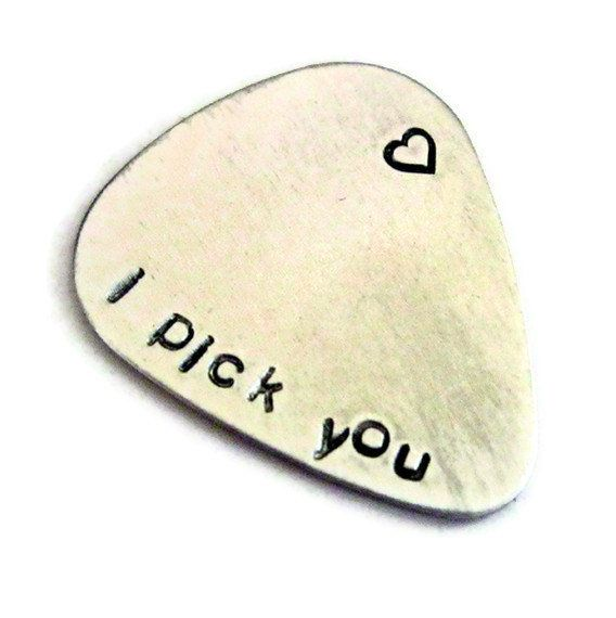 I pick you ...  customized / personalized handstamped aluminum guitar pick
