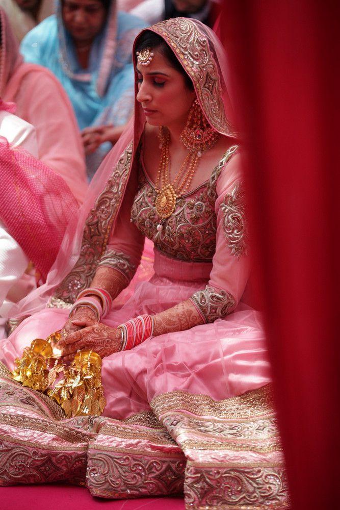 Sikh Brides - Blush Pink Anarkali with GOld Kaleere and Gold Embroidery | WedMeGood #wedmegood #sikh #brides