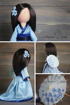 Decor doll handmade blue kimono brunette girl by AnnKirillartPlace