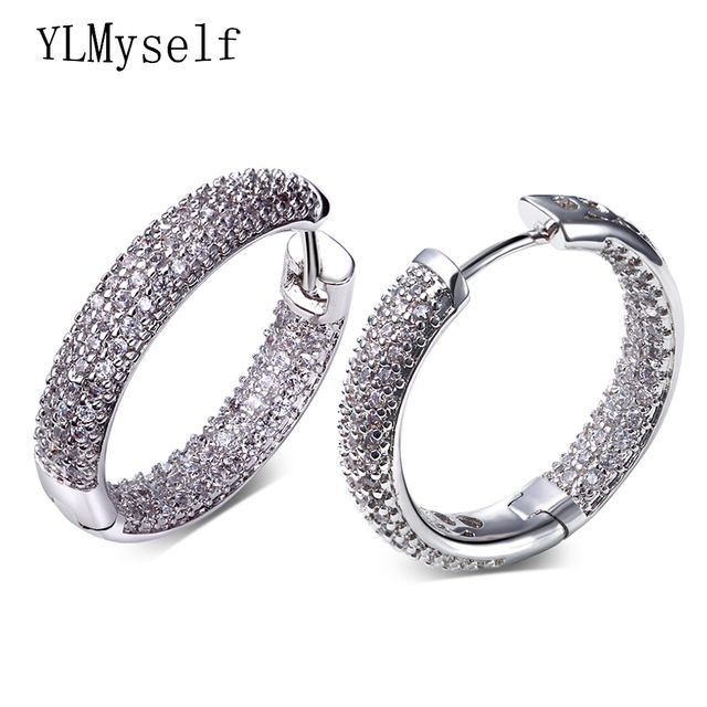 Big Deals $8.67, Buy Hoop earring for night bar party Women Circle Earrings Micro setting Cubic Zirconia crystal allied express bijoux Jewelry