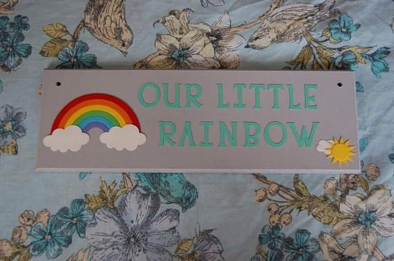 Rainbow baby sign plaque ' Our little Rainbow'.