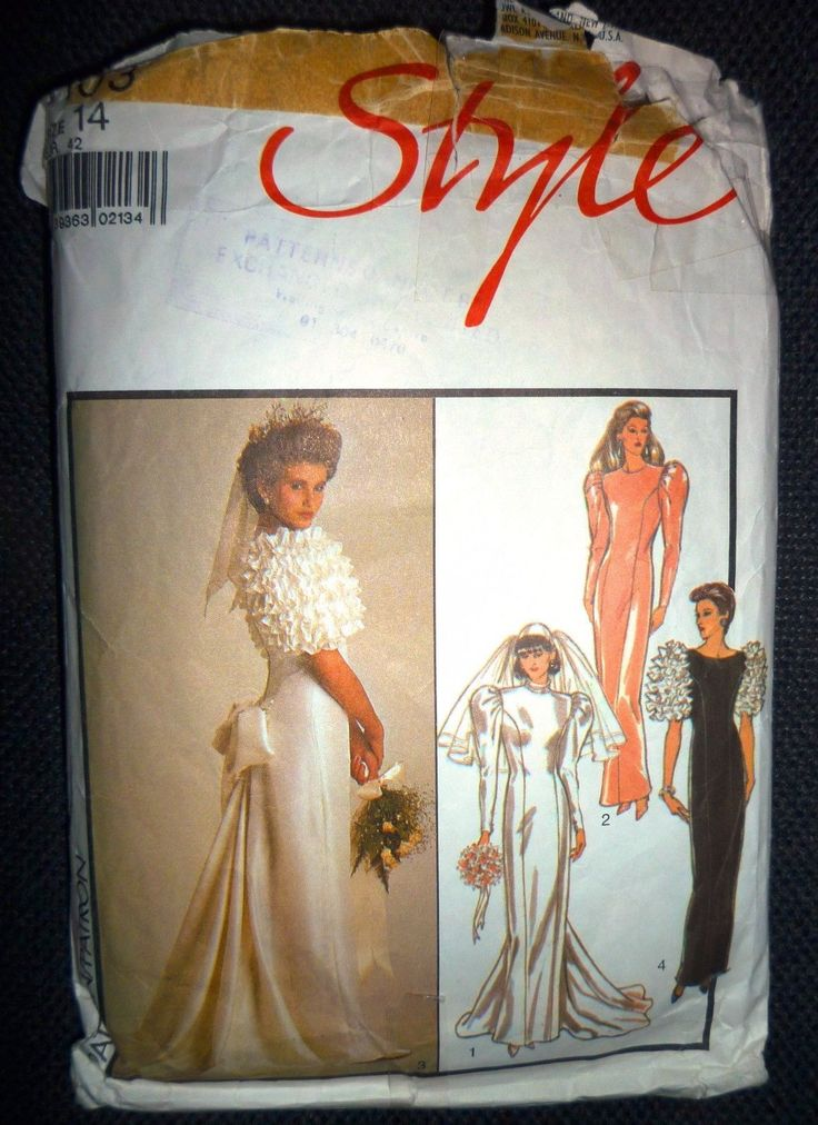 """VINTAGE 1980s STYLE USED SEWING PATTERN WEDDING DRESS SIZE 14 BUST 36"""" HIPS 38"""" 