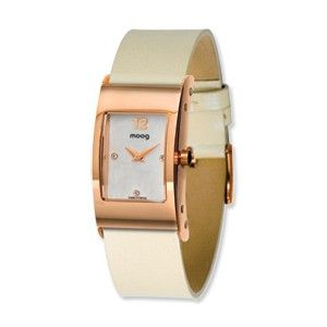 Moog Rose Plated Rectangle Domed Watch w/(SC-04RG) White Band - SalmaWatches.com $189.95