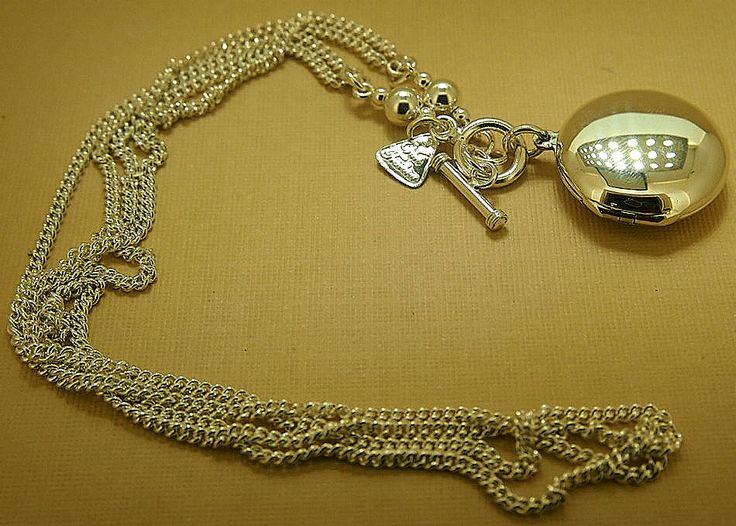 JewelleryNecklace-Designer- Von Treskow-Double Curb Link Silver Chain with Round Locket