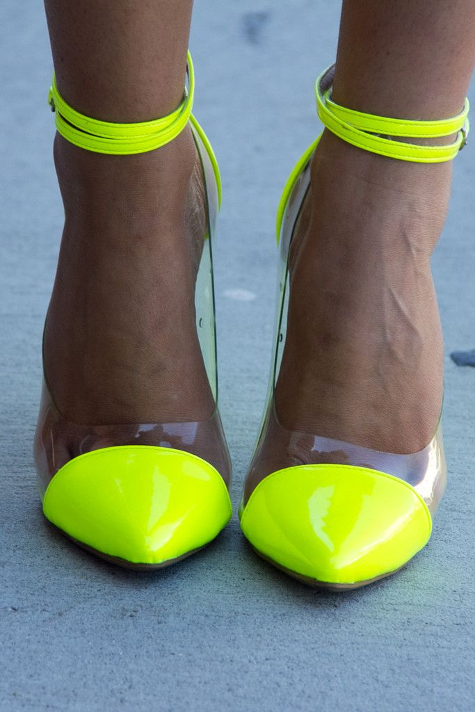 New Pointy Toe Heels Pumps Neon Patent Pink Green Yellow ...