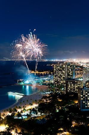 Friday night fireworks  on Waikiki Beach, Oahu ... launched from the Hilton Hawaiian Village hotel