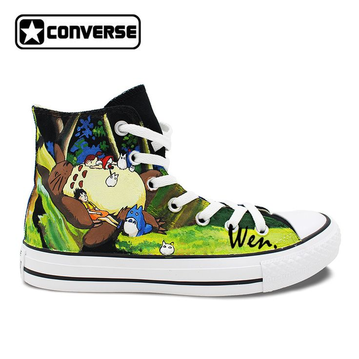 Black Skateboarding Shoes Brand Converse All Star Design Anime Shoes Hand Painted My Neighbor Totoro Men. Click visit to buy #Skateboarding #Shoes