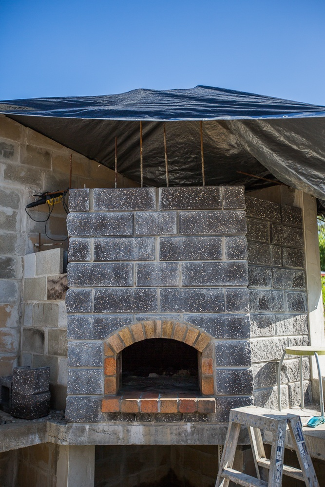 This is the Papa Gomez wood fired pizza oven - still under construction but nearly there...