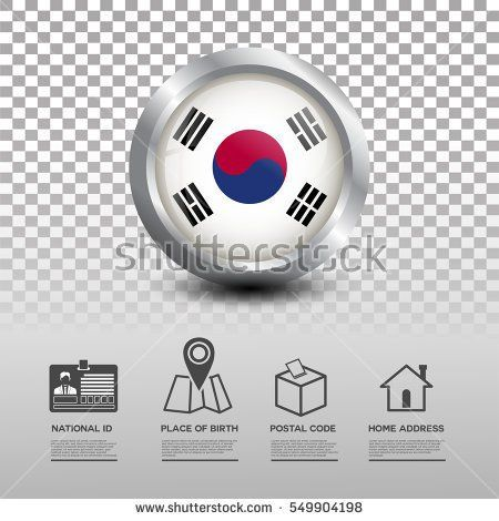 Circle flag of Korea in glossy icon button with national Id, place of birth, postal code and home address flat icon on transparent background. Vector illustration eps.10