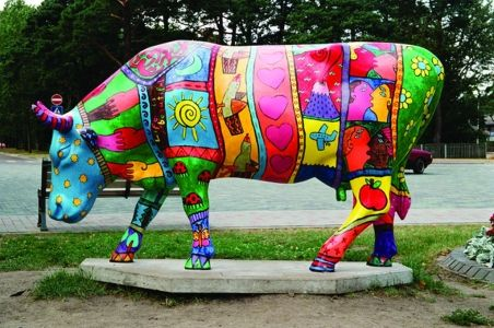 "Ventspil, Latvia - Cows on Parade 2002 -2012 - ""Living Color"" - 24 life size fiberglass cow statues annual display"
