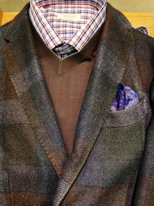 This bold plaid Boglioli jacket has all the right colors to go with any trouser or jean and still doesn't look too generic!  The shirt is Eton, the tie is Etro and the sweater is Cucinelli.  #Aim2Win