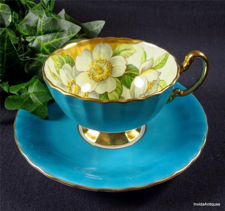 1930s Aynsley English Bone China Blue & Gold Dogwood Tea Cup & Saucer Set
