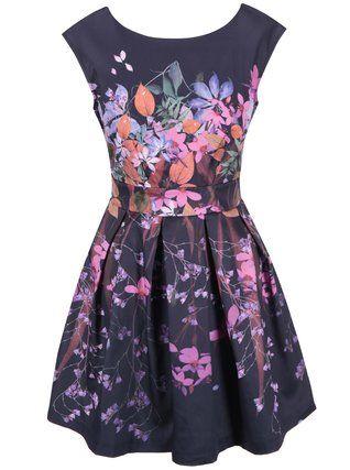 Closet - Tmavě modré šaty s květinovým potiskem - 1