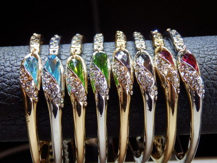 Crystal Bracelet, Sparkle Bangle, Gold & Platinum Plated, Crystal Bangles