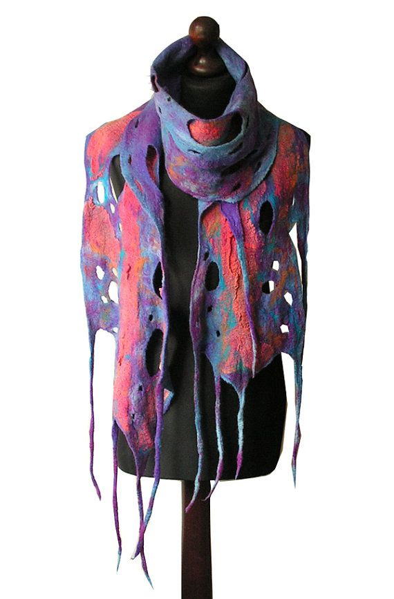 Felted scarf made from finest Australian merino wool and hand dyed cotton gauze. Colors: multicolor - shades of blue, turquoise, purple, violet,