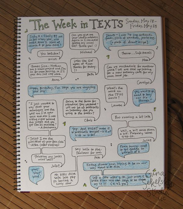 Daily Journal Project #22 -- the week in texts! ... What a fun journaling idea!