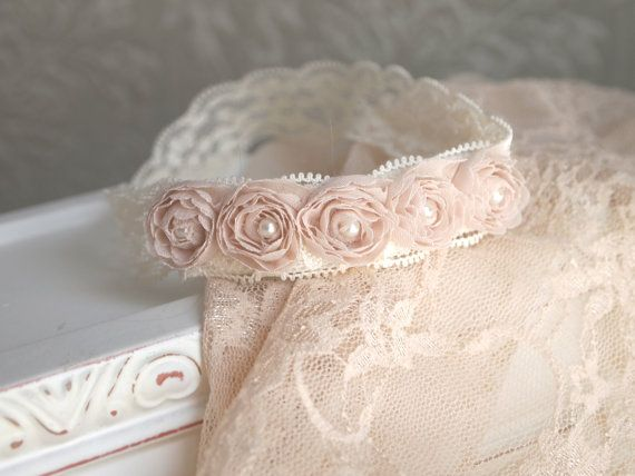 Newborn Lace Headband & Wrap Set  Beautiful vintage style baby girl photo prop set shown in blush beige. Pink and white are also available by