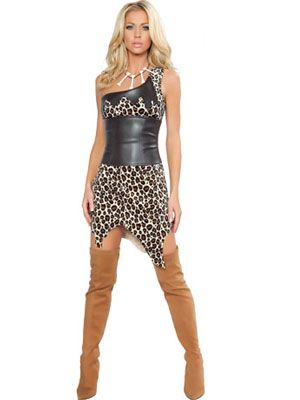 Leopard Pattern One-Shoulder Sexy Hunter Costume