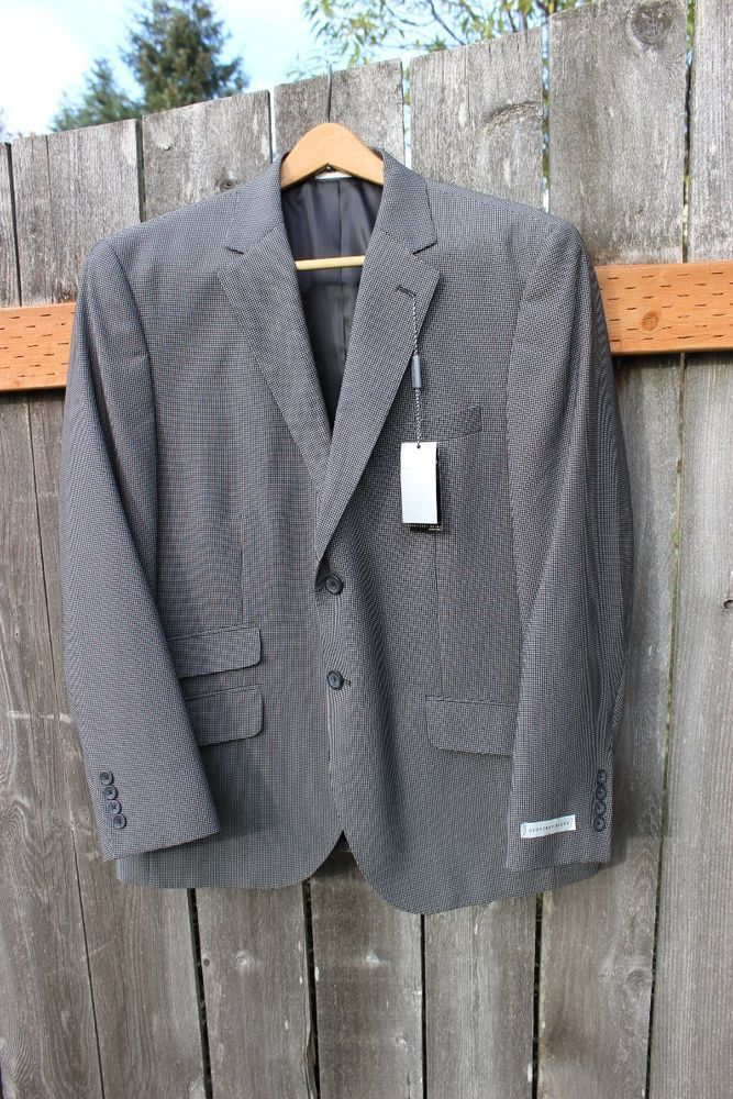 New Mens Black Geoffrey Beene Blazer Suit Jacket Coat  Size 42 S Retails $250 #GeoffreyBeene #TwoButton