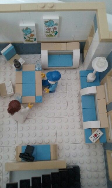 Lego, interior of apartment above bank.