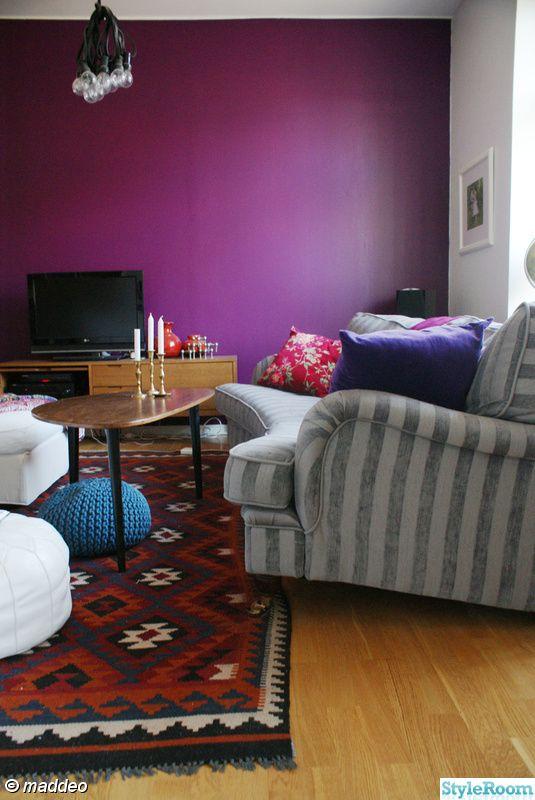 vardagsrum,soffa,väggfärg,lila,matta