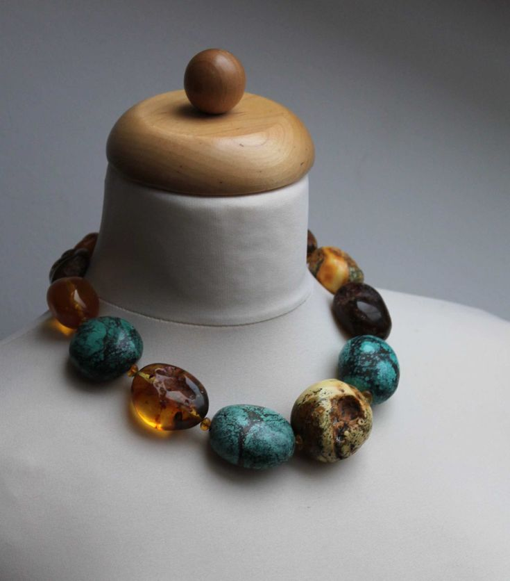 Baltic Amber Turquoise Raw Stone Necklace