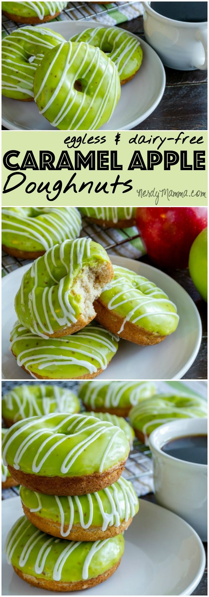 My kids are already begging me to make more of these delicious eggless and dairy-free caramel apple doughnuts! Best breakfast idea ever.