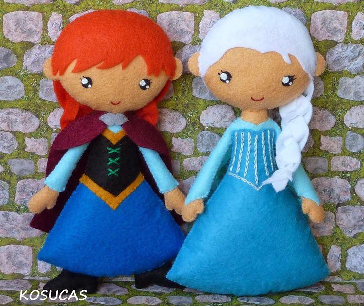Anna y Elsa de fieltro. Felt doll Anna and Elsa.