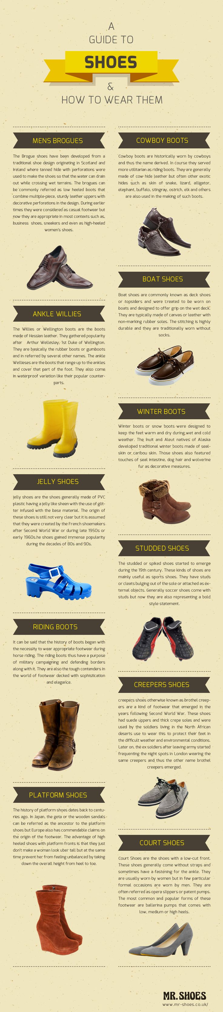 A guide to shoes and how to wear them.  http://www.mr-shoes.co.uk/: Http Www Mr Shoes Co Uk, Fashion Clothing, Guide To, Shoes Guide, Infographic, How To, Wear, Info Graph