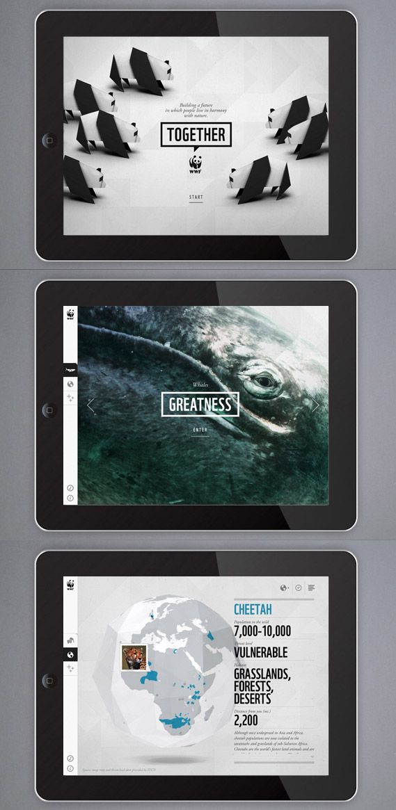 World Wildlife Foundation Educational iPad App #iPad #Tablet #Mobile #UI