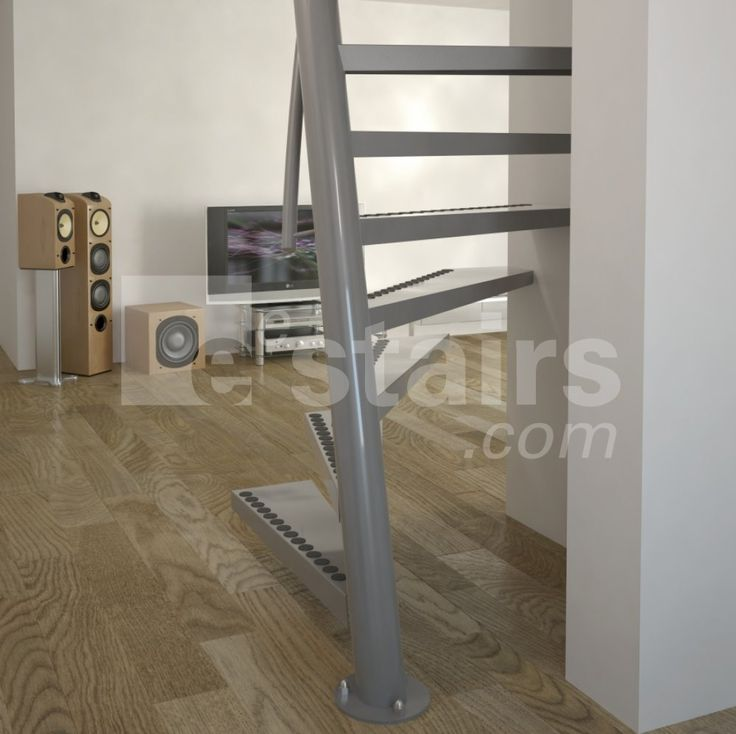 A grey 1m2 staircase on a parquet floor with broadband television, audio system and large loudspeakers.