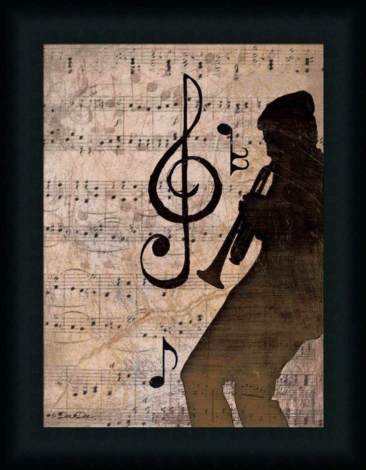 Rhythm II Vintage Music Notes Trumpet Art Print Framed