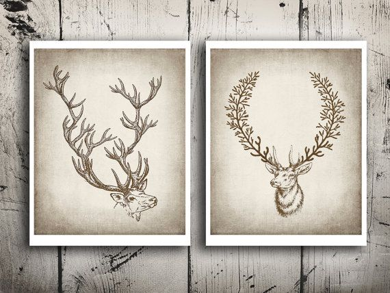 Deer art print set Stag portrait Deer head print by EEartstudio, $17.00
