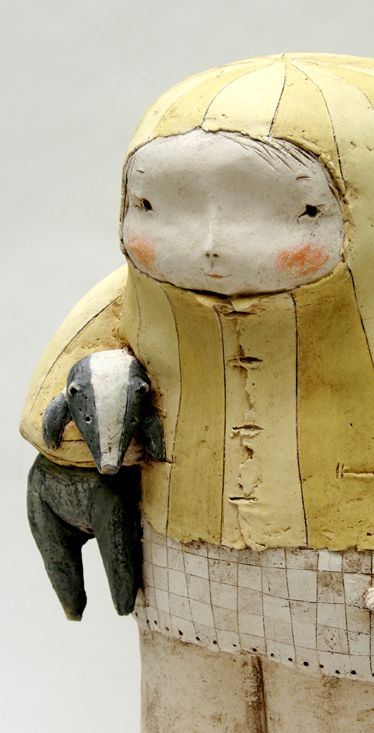 de anne-sophie gilloen - what a sweet little piece of art with a baby badger under her arm! ~M x