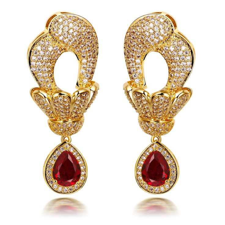 Drop Earrings women flower Earring gold plated with CZ fashion wedding party jewelry wholesale romantic forever Free shipment