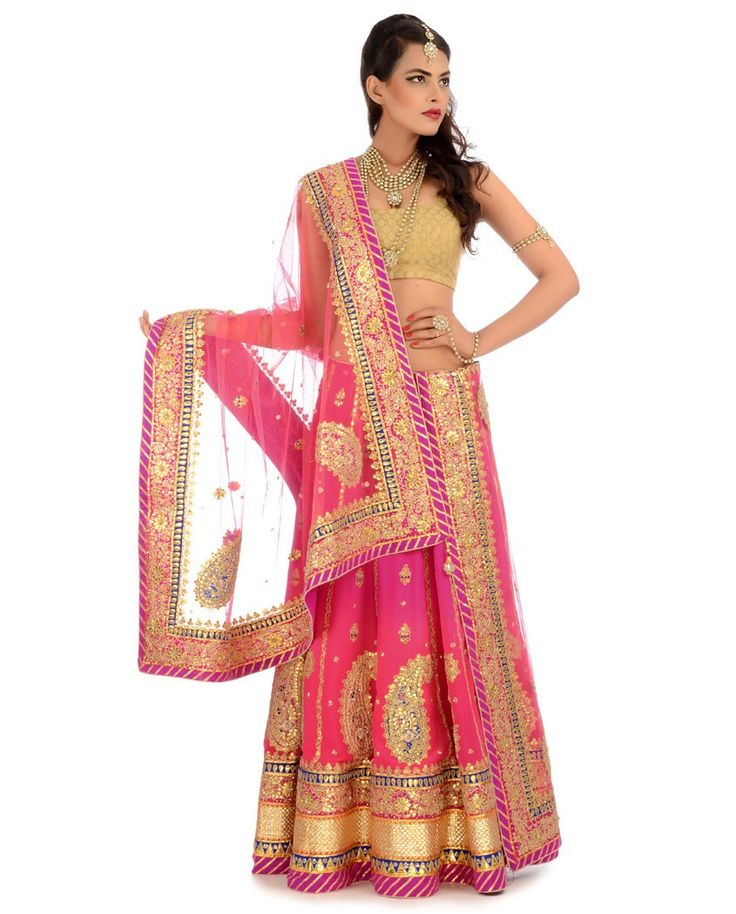 Fuchsia  Sorbet Pink Shaded Lengha Set with Gota Patti - Buy Wedding Online | Exclusively.in