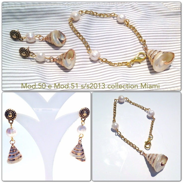 Handmade parure earrings  and Bracelet with shell - FrancescaC. Jewels