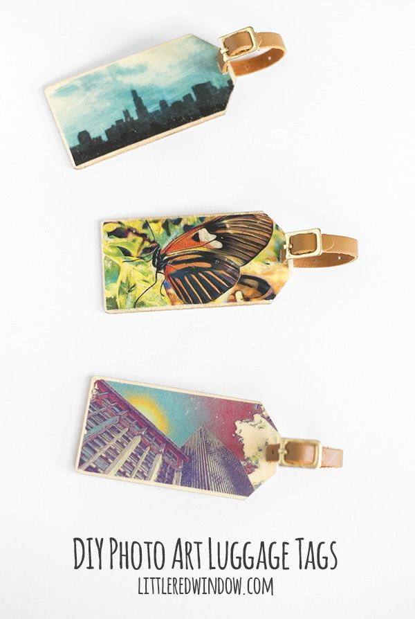Transfer your personalized photo art to wood to make these fun and unique photo art wood DIY luggage tags!