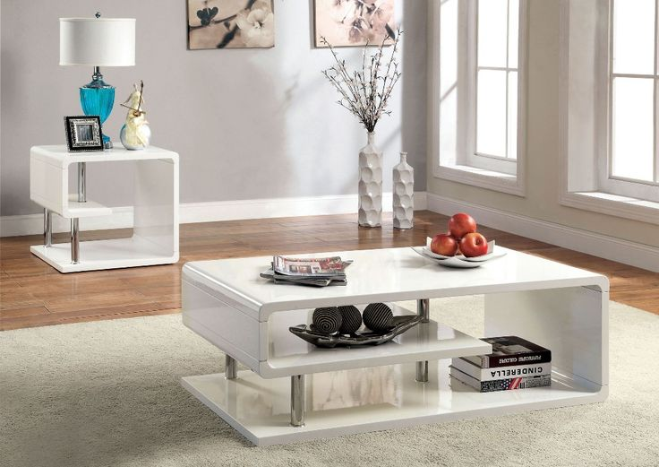 White Coffee Table Set Modern White Coffee Table And End Table With Storage  Also Metal Legs