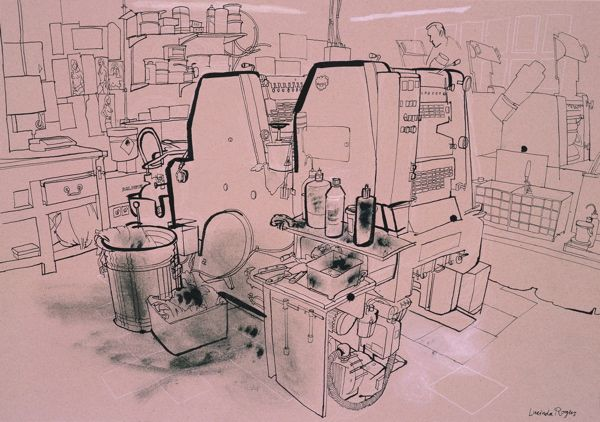 Lucinda Rogers  This is a drawing of machinery in some sort of workshop. The artist uses thicker and thin lines to denote form and shadow. The only time texture is brought it is around a waste bin, which creates a unique sense of texture and dirt.