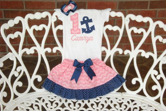 Girls Nautical Birthday Outfit Baby Girl Anchor by RuffleDarlings