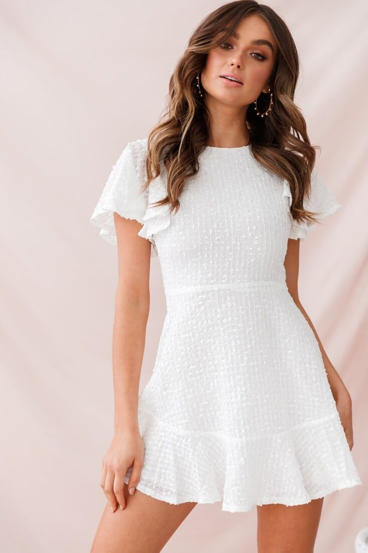 Isabelle Angel Sleeve Empire Dress White White Short Dress White Dresses Graduation Banquet Dresses [ 1100 x 733 Pixel ]