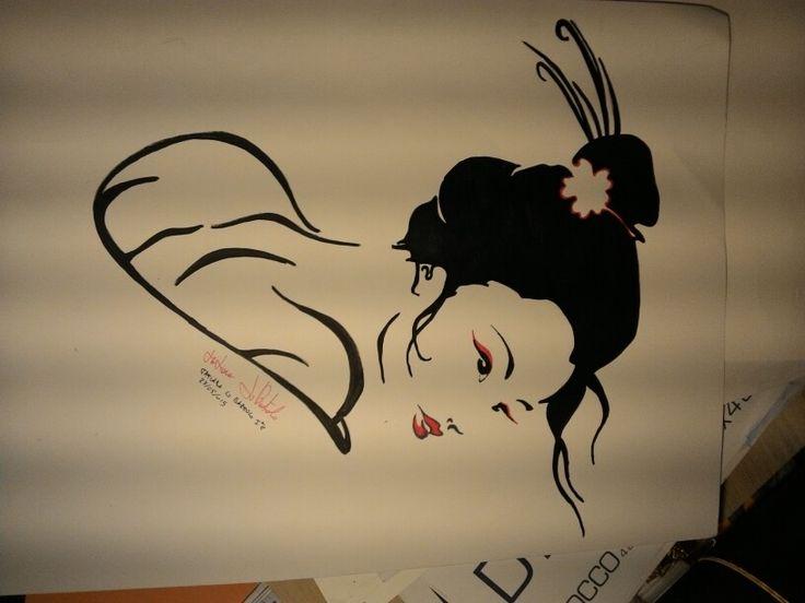 Disegno con pennarello nero e rosso