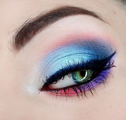 """Blue Sky"" by AgaM using the Makeup Geek Mango Tango eyeshadow."